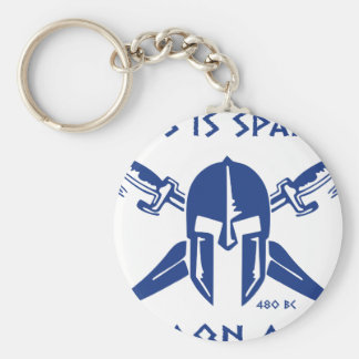 Éste es Sparta - Molon Lave - azul Llavero Redondo Tipo Pin