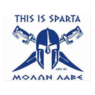Éste es Sparta - Molon Lave - azul Tarjetas Postales