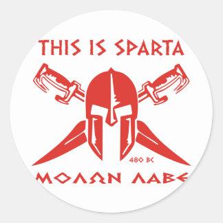 Éste es Sparta - Molon Lave - rojo Etiqueta Redonda