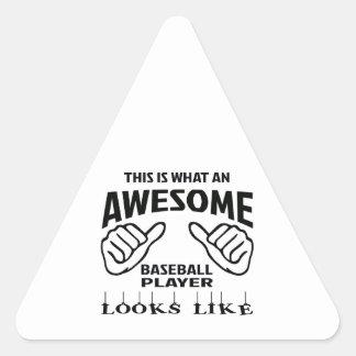 Éste es un qué jugador de béisbol impresionante pegatina triangular
