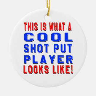 Éste es un qué jugador lanzamiento de peso fresco adorno navideño redondo de cerámica