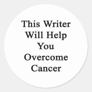 Este escritor le ayudará a superar al cáncer pegatina redonda