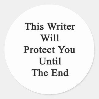 Este escritor le protegerá hasta el extremo pegatina redonda