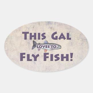 ¡Este galón ama volar pescados! Pesca con mosca de Pegatina Ovalada