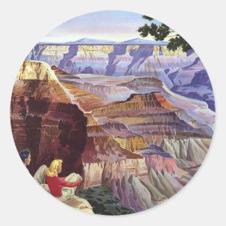 Este Gran Cañón de la visita del verano Etiqueta Redonda