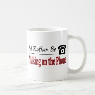 Esté hablando bastante en el teléfono taza de café