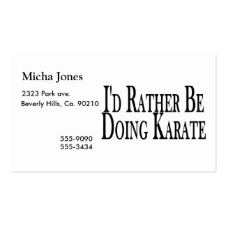 Esté haciendo bastante karate tarjetas personales
