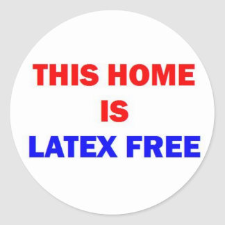 Este hogar es látex libre etiquetas redondas