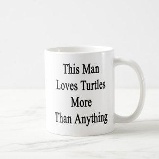 Este hombre ama tortugas más que cualquier cosa tazas de café