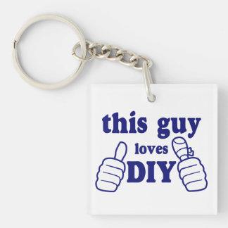 Este individuo ama DIY (personalizado) Llavero Cuadrado Acrílico A Doble Cara