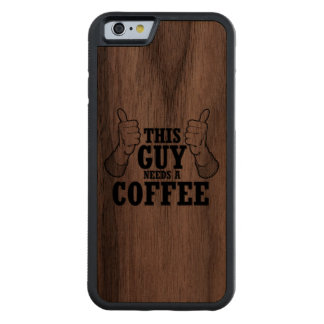 Este individuo necesita un café - humor del día de funda de iPhone 6 bumper nogal