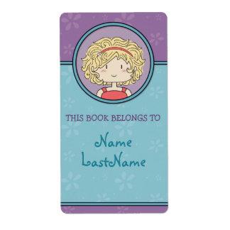 Este libro pertenece a… (azul y púrpura) etiqueta de envío