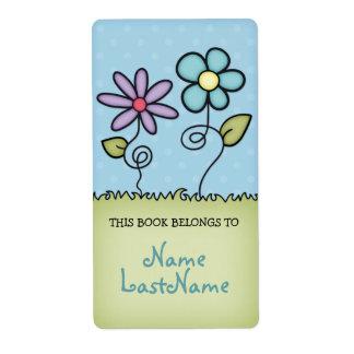 Este libro pertenece a… con las flores etiqueta de envío