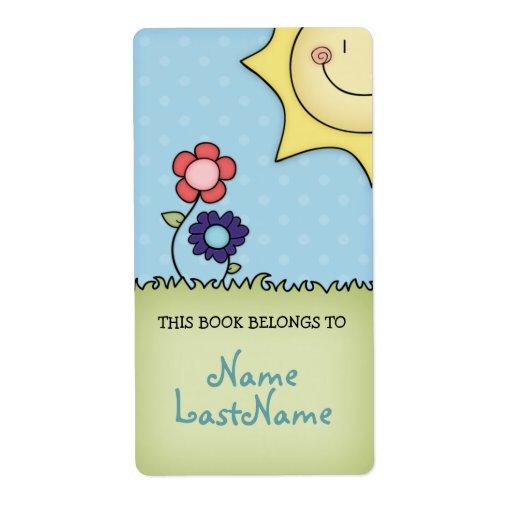 Este libro pertenece a… con las flores y el sol etiquetas de envío