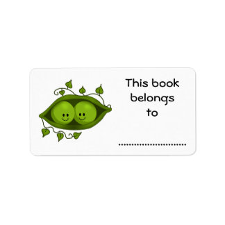 Este libro pertenece a, dos guisantes en una vaina etiqueta de dirección