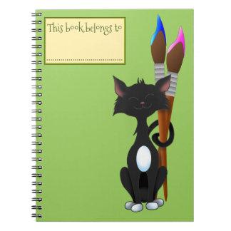 Este libro pertenece a, gato y las brochas, verde spiral notebooks