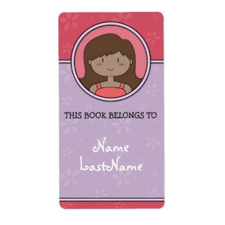 Este libro pertenece a… (púrpura y rosa) etiquetas de envío