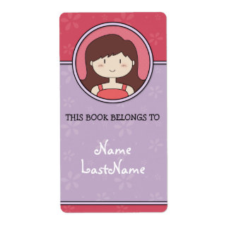 Este libro pertenece a… (púrpura y rosa) etiqueta de envío
