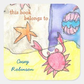 """""""Este libro pertenece"""" al bookplate del paisaje Calcomanía Cuadrada"""