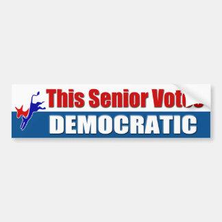 Este mayor vota Democratic Pegatina De Parachoque