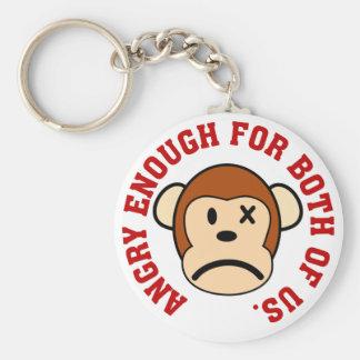 Este mono está bastante enojado para nosotros dos llavero redondo tipo pin