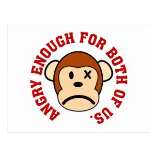 Este mono está bastante enojado para nosotros dos tarjeta postal