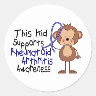 Este niño apoya conciencia de la artritis reumatoi etiqueta