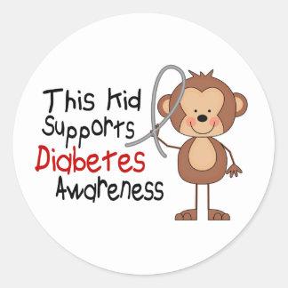 Este niño apoya conciencia de la diabetes pegatina redonda