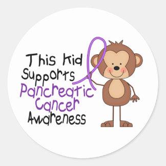 Este niño apoya conciencia del cáncer pancreático etiquetas