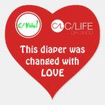 Este pañal fue cambiado con amor pegatina en forma de corazón