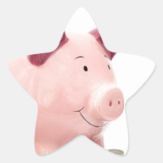 este pequeño guarro fue al banco pegatina en forma de estrella