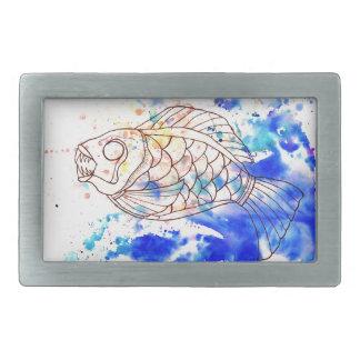 Este pescado muerde detrás hebillas de cinturón rectangulares