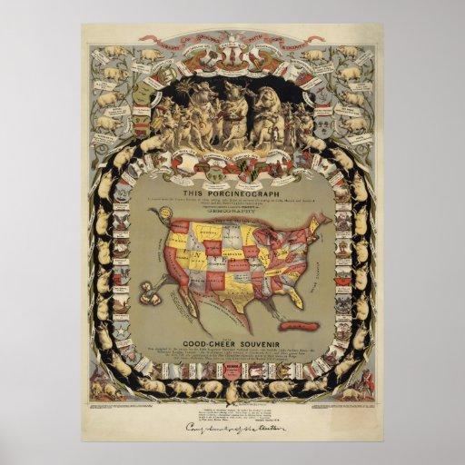 """""""Este Porcineograph"""" (Forbes) BigMapBlog.com 1876 Póster"""