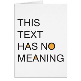 este texto no tiene ningún meanig. tarjeta de felicitación