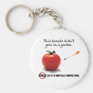 Este tomate no creció en un jardín. Diga NO a GMO Llavero Redondo Tipo Pin