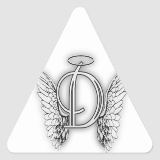 Este último inicial del alfabeto D del ángel se va Pegatina Triangular