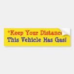 ¡Este vehículo tiene gas! Pegatina De Parachoque