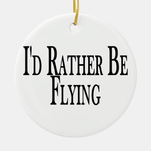 Esté volando bastante adorno navideño redondo de cerámica