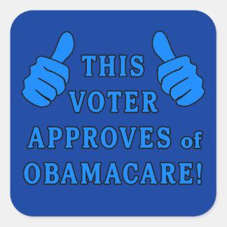 ESTE VOTANTE aprueba de Obamacare Calcomanías Cuadradas