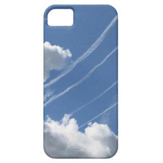 Estelas de vapor de aviones y de nubes en el cielo iPhone 5 fundas