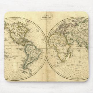 Estera antigua del ratón del mapa del mundo alfombrilla de ratón