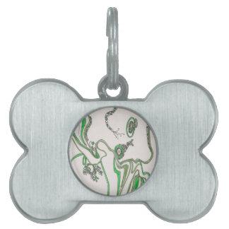 estera bacteriana enredada placas de nombre de mascota