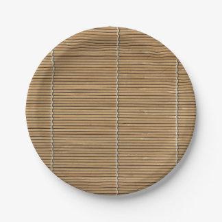 Estera de bambú de la playa placa de papel de 7 plato de papel de 7 pulgadas