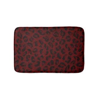 Estera de baño roja del estampado leopardo
