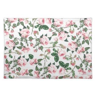 Estera de lugar color de rosa de las flores manteles