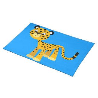 Estera de lugar feliz linda del guepardo del mantel