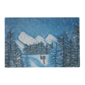 ESTERA de LUGAR Invierno-LAMINADA azul pintada Salvamanteles