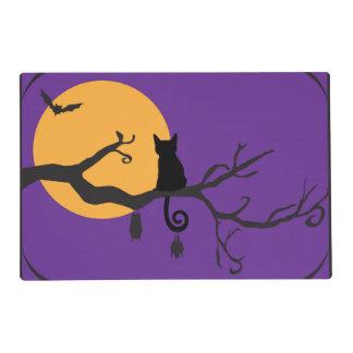 Estera de lugar negra anaranjada púrpura del árbol tapete individual