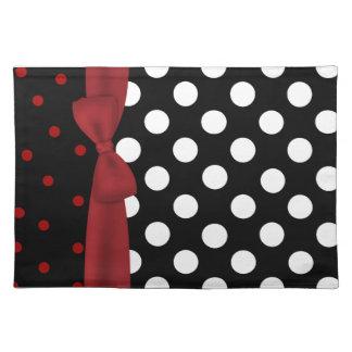 Estera de lugar negra, blanca, y roja elegante del mantel