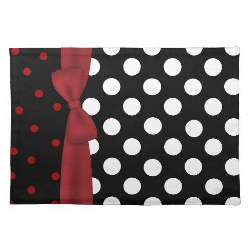 Estera de lugar negra, blanca, y roja elegante del manteles